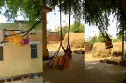 76 year old grandma sings and plays while standing on a swing
