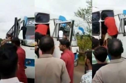 A Mob stopped the bus and brutally thrashed bus driver