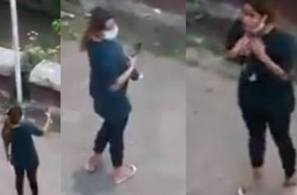 Corona Lockdon :Young girl violating 144 and taking selfie in the road