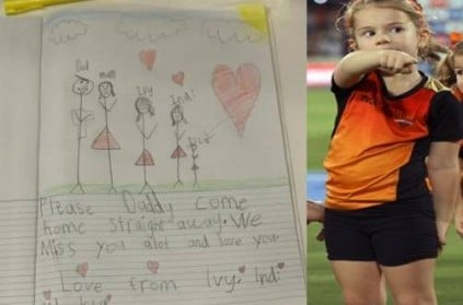 David Warner Posts Heart Touching Drawing by His Daughter Ivy