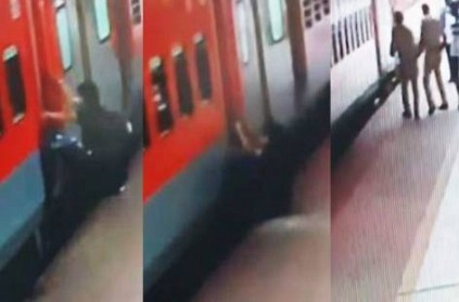Man slips trying to board moving train RPF personnel save him