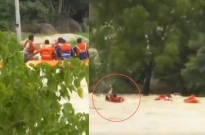 NDRF men washed away with floods video goes bizarre