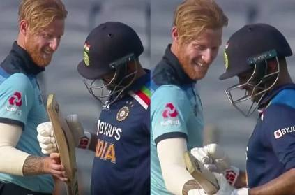 Ben Stokes checks Shardul Thakur's bat after getting hit for a six