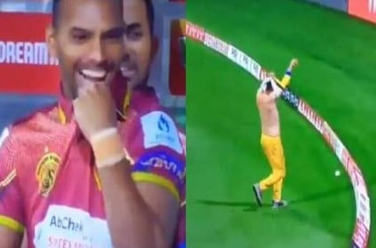 Rohan Mustafa fails to stop boundary he was busy changing his jersey