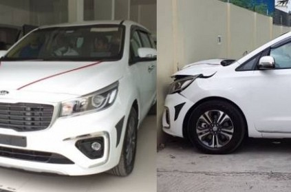 Brand New Kia Carnival gets crash after taking delivery