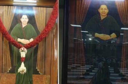 Jayalalitha Photo placed in Kalaivanar Arangam, where assembly session