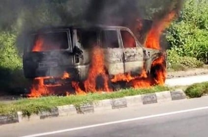 scorpio car get fire accident near salem burned fully