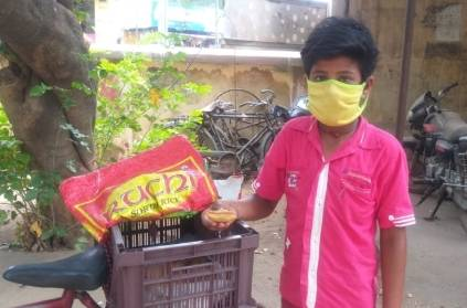 Thanjavur boy selling snacks to his family needs