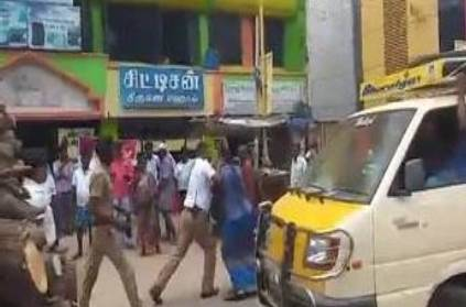 traffic police and tata ace driver fight in ramanathapuram main road