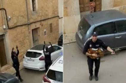 In Spain, cops are singing and entertaining people